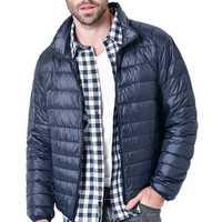 Mens Winter Lightweight Warm Padded Jacket Solid Color Coat
