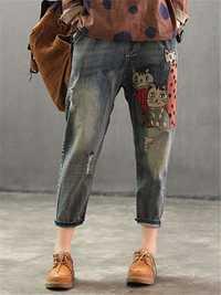 Women Elastic Waist Patch Harem Pockets Casual Denim Jeans