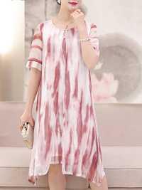Women Fake Two Pieces Painted Chiffon Dress