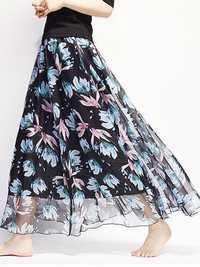 Chiffon Floral Printed Elastic Waist Maxi Skirt
