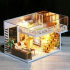 Meilleurs prix DIY Doll House Furnitures Miniature Doll house Dust Cover Wooden Dollhouse Light House For Dolls Handmade Toys For Children