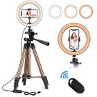 Bon prix Controllable 6 inch 10 inch LED Selfie Ring Light + Tripod Stand + Phone Holder Photography YouTube Video Makeup Live Stream with Remote Shutter for iPhone Android Smart Phones
