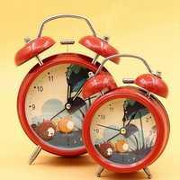 Metal Cute Fashion Bell Ring Mute Clock European Retro With Night Light Table Clock
