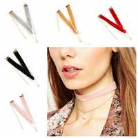 Trendy Multicolor Velvet Artificial Pearl Choker Women Necklaces