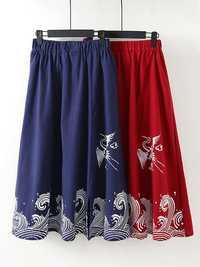 Vintage Printed Loose Folk Style Elastic Waist Women Skirts