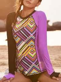 Long Sleeve Split Purple Sun Protection Swimwear
