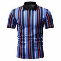 Mens Fashion Colorful Stripe Buttons Golf Shirts