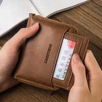 Vintage PU Leather Short Zipper Card Holder Wallet For Men