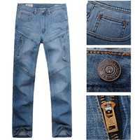 Men Casual Summer Autumn Plus Size Multi Pocket Loose Straight-leg Cotton Denim Pants