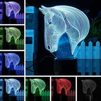 3D Art Horse Head 7 Color Changing Bulding LED Night Lamp Light Bedroom Xmas Gift