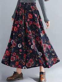 Bohemian Floral High Elastic Waist Pleated Maxi Skirt