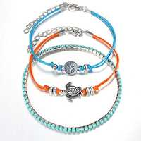 3 Pcs/set Turtle Rune Charm Multilayer Anklets Bracelets