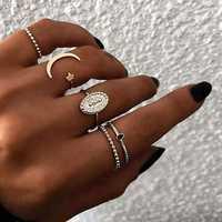 5Pcs Bohemian Finger Ring Set Moon Star Open Close Rings