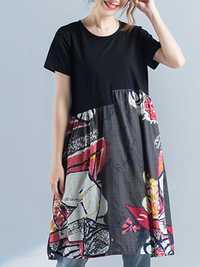 Print Patchwork Dress Short Sleeve O Neck Pockets Dress