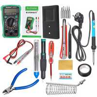 110V/220V 60W Electric Adjustable Temperature Solder Iron Multimeter Plier Tools Kit