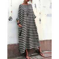 Plus Size Casual Crew Neck Batwing Sleeve Stripe Loose Dress