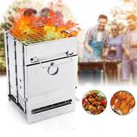 Stainless Steel Square Folding Portable Barbecue BBQ Grill Stove Compact Charcoal Outdoor Camping Cooker