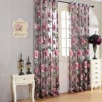 Honana WX-C2 Flower Transparent Tulle Curtains Window Screen Decor Living Room Yellow Purple Sheer Curtain