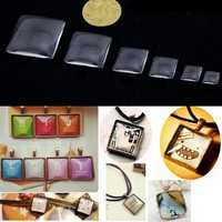 10Pcs Square Shape Clear Glass Cabochon Dome Charm DIY