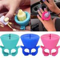 3 Colors Wearable Nail Polish Bottle Display Silicone Round Holder Stand