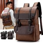 Meilleurs prix Men Large Capacity PU Leather Backpack Casual Vintage Bag