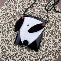 Cartoon Cute White and Black Dog Shoulder Bags Crossbody Bags