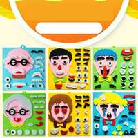 Children's Emoticon Jigsaw Puzzle Toy Non-Woven Material Toys Family Expressions Puzzle Hand-Applied Facial Features Stickers