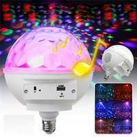 E27 LED RGB Bluetooth Speaker Bulb Light Rotating Crystal Ball DJ Disco KTV Stage Lamp