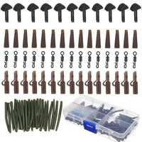 120Pcs Carp Fishing Tackle Box Lead Clips Hooks Swivels Needles Terminal Rigs Fishing Tool