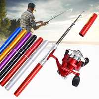LEO Mini Fishing Rod Reel Combo Fibre Glass Aluminum Fishing Reel 5.1:1 Portable Hunting Fishing Tools
