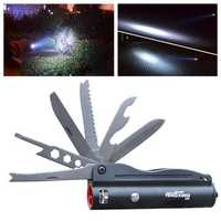 13 in 1 Folding Knife Flashlight 280 Lumen Outdoor Waterproof Knife Lamp Fishing Scale Tool