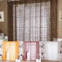 100x200cm Chic Floral Printed Flocking Tulle Window Curtain Door Bedroom Screen