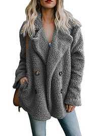 Fleece Lapel Pure Color Button Pockets Warm Jacket Coats