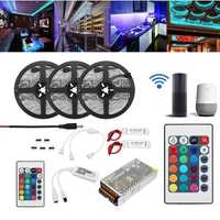 15M 2835 RGB Flexible IP65 Smart Wifi Control APP LED Strip Light Kit Work With Alexa AC110-240V