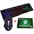 Meilleurs prix Colorful Backlight USB Wired Gaming Keyboard 2400DPI LED Gaming Mouse Combo with Mouse Pad