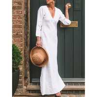 Plus Size Solid Color V-neck Long Sleeve Maxi Kaftan Dress