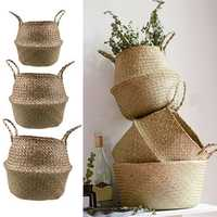 Garden Flower Pot Seagrass Belly Basket Storage Plant Pot Foldable Seeding Nursery Decoration Bag
