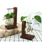 Meilleur prix Wood Stand Iron Shelf Flower Vase Flower Pot Holder Crystal Glass Vase Home Decor