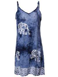 Sexy Women Sleeveless Strap Elephant Printed Beach Party Mini Dress
