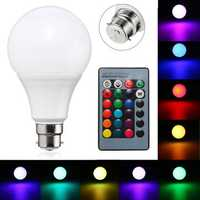 B22 10W Dimmable RGB Color Changing LED Light Lamp Bulb Remote Control AC85-265V