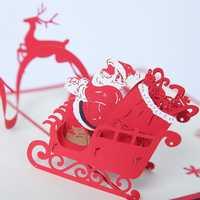 Christmas Santa & The Reindeer 3D Pop Up Greeting Card Christmas Gifts Party Greeting Card