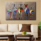 Offres Flash Hand Painted Oil Paintings Five Colorful Zebra Modern Art For Home Decoration Paintings