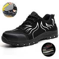Tengoo Men's Safety Shoes Work Shoes Steel Toe Waterproof Breathable Anti-Smashing Sneakers