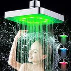 Bon prix 360° Adjustable 6 Inch LED Light Square Rain Shower Head Stainless Steel 3 Color Changing Temperature Control Bathroom Showerhead
