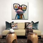 Les plus populaires Hand Painted Oil Paintings Animal Modern Art Happy Frog With Glasses On Canvas Wall Art For Home Decoration