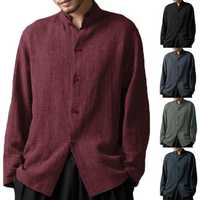 INCERUN Mens Vintage Cotton Stand Collar Long Sleeve Shirts