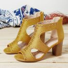 Bon prix Hollow Out Solid Color Chunky Heel Pumps