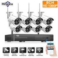 Hiseeu 1080P Wireless CCTV 8CH NVR Kit Outdoor IR Night Vision IP Camera WiFi Camera Security Surveillance EU Plug