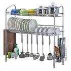 Meilleurs prix 70cm/90cm 304 Stainless Steel Sink Dish Drain Rack 1/2 Tiers Kitchen Desktop Sink Storage Shelf Kitchen Organizer Dish Rack