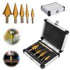 Les plus populaires 6Pcs Titanium Drill Bit Set Steel Step Drill Bits Cone Multiple Hole 50 Sizes with Case Kit